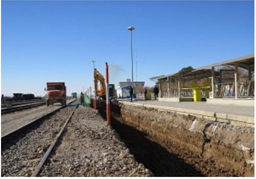 عملیات اجرای پروژه اسلب تراک ایستگاه راه آهن شاهرود از خط چهار این ایستگاه کلیدخورد