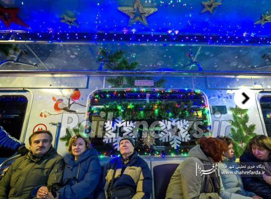 تزیین قطارهای متروی مسکو به مناسبت سال نو میلادی