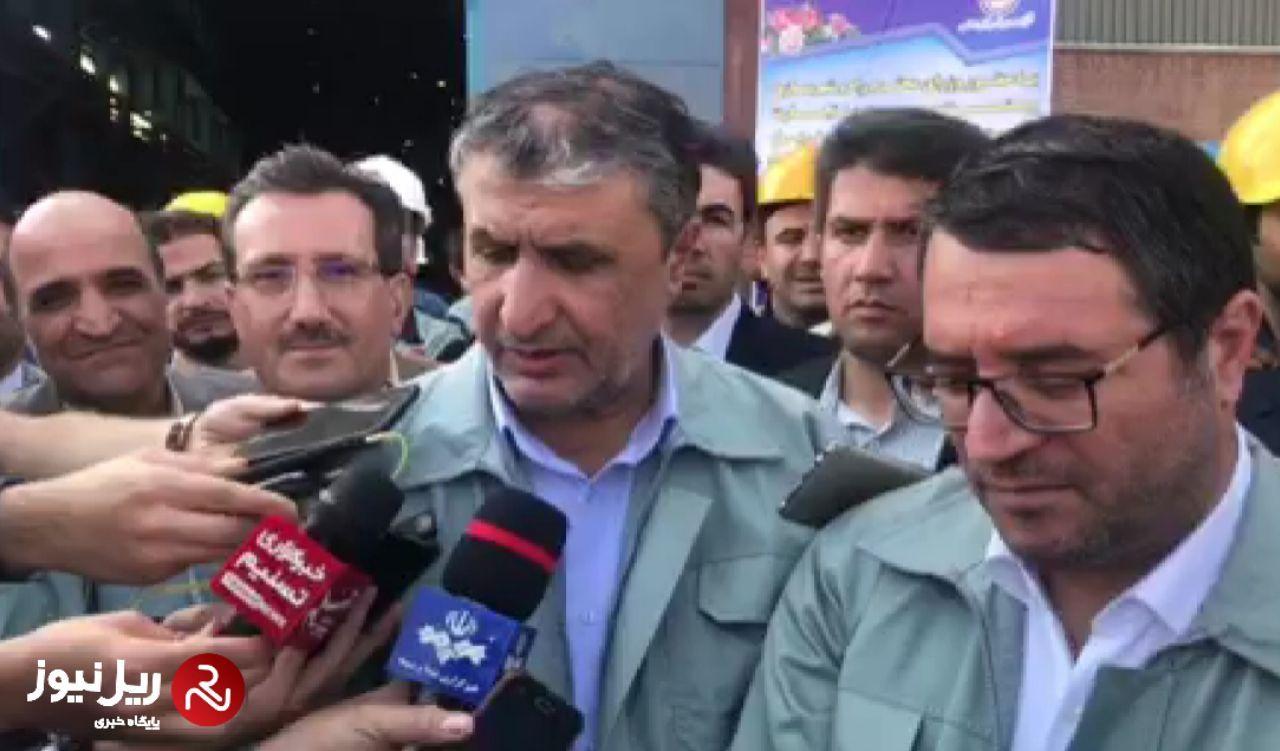 مصاحبه با اسلامی، وزیر راه و شهرسازی در مراسم تحویل اولین محموله ریل پرسرعت ملی