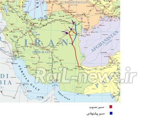 بررسی مسیر مصوب و مسیر پیشنهادی راه آهن مشهد- زاهدان
