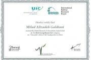 کسب جايزه تحقيقات و نوآوري 2018 UIC  در بخش محققين جوان  UIC Innovation Awards-- Young resercher