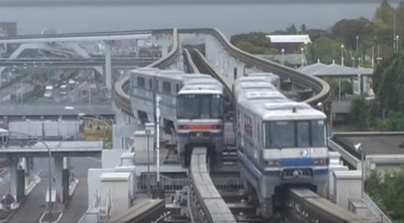 ポイント切り替え 大阪モノレール monorail railroad switch قطارهای جذاب سقفی و منوریل ژاپن